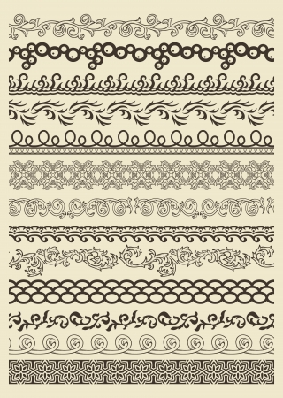 Set of vintage lines on beige background