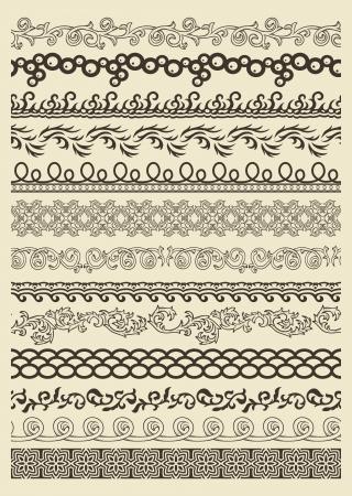 vignette: Set of vintage lines on beige background