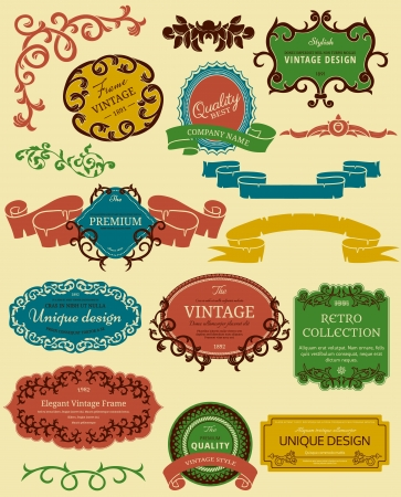 Color frames in retro style  Could be used as infographics elements