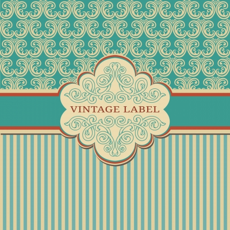 Elegant vintage frame with damask pattern  Illustration