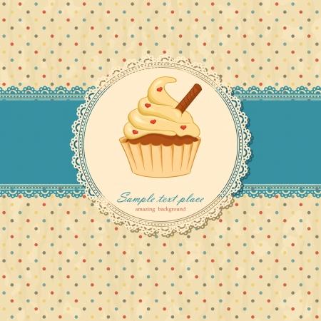 Vintage achtergrond met kant en cupcake