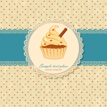 Vintage background with lace and cupcake  Vector