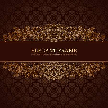 barok ornament: Vintage frame met gouden ornament Stock Illustratie