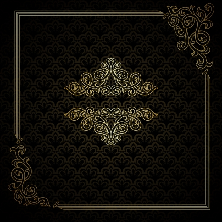 baroque border: Vintage frame on damask background