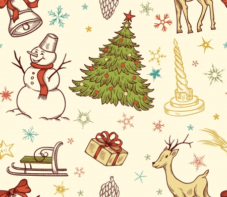 Christmas seamless pattern with deer, snowman, snowflakes, etc  Hand drawn Stock Vector - 15252373