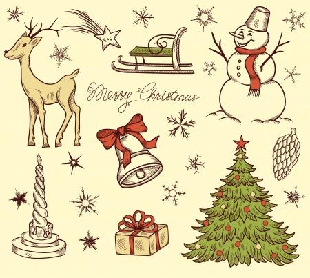 Set of Christmas design elements in retro style Stock Illustratie
