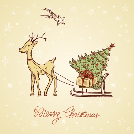 greeting: Christmas greeting card with deer and sled Illustration