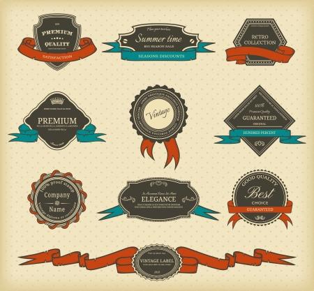 ruban noir: Jeu d'�tiquettes vintage avec des rubans