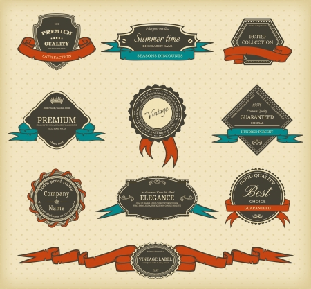Set of vintage labels with ribbons Vettoriali