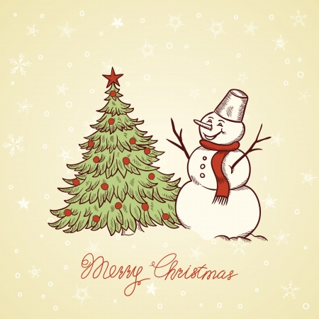 Snowman with Christmas tree  Hand drawn greeting card  Vector
