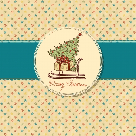 Christmas vintage greeting card with sled and gift box Stock Vector - 15252385