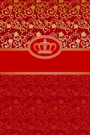 vintage background with golden crown  Vector