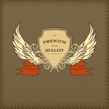 Vintage background with red ribbon, frame and wings
