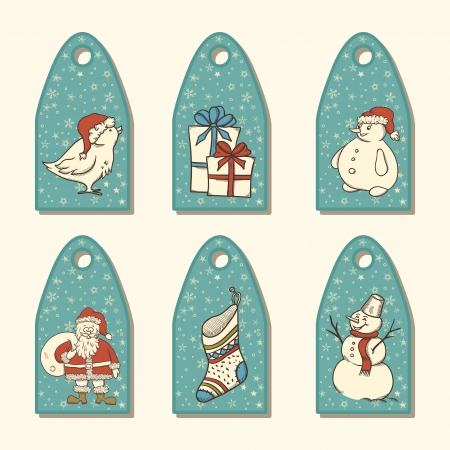 retro christmas: Set of Christmas tag with hand drawn elements and snowflakes