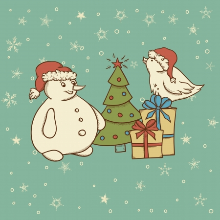 Christmas vintage greeting card with snowman, bird and gift box  Vector