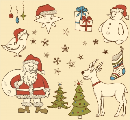 Christmas seamless pattern with deer, snowman, snowflakes, etc  Hand drawn Stock Vector - 15355185