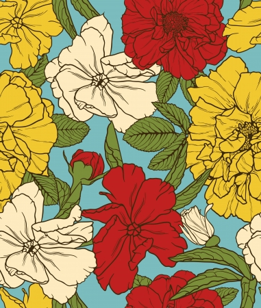 textile image: Floral seamelss wallpaper with colored flowers
