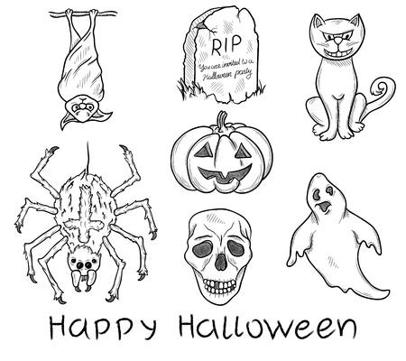 Halloween doodle elements isolated on white Vector