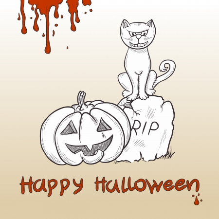 churchyard: Halloween background with cat, pumpkin and grave