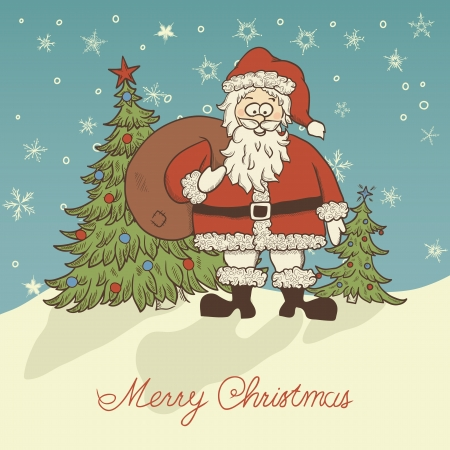 Christmas greeting card in retro style with Santa  Vector