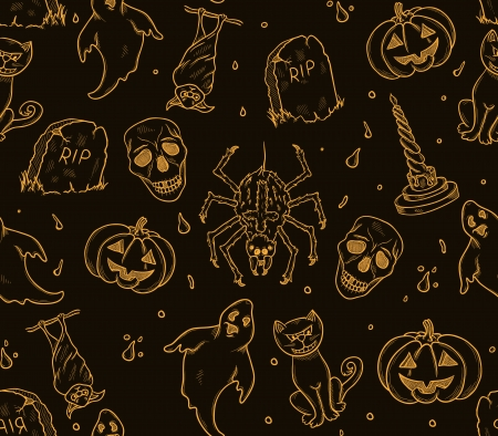 Halloween background with cat, pumpkin and grave,ghost,skull,etc Vector