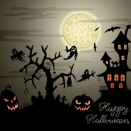 Happy Halloween greeting card with ghosts, graves, bats, pumpkins, etc   Stock Vector - 15642603