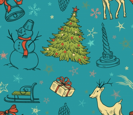 Christmas seamless pattern with deer, snowman, snowflakes, etc  Hand drawn  Vector