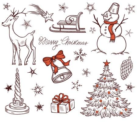 Stock Vector Illustratie Set van Kerstmis design elementen in retro stijl