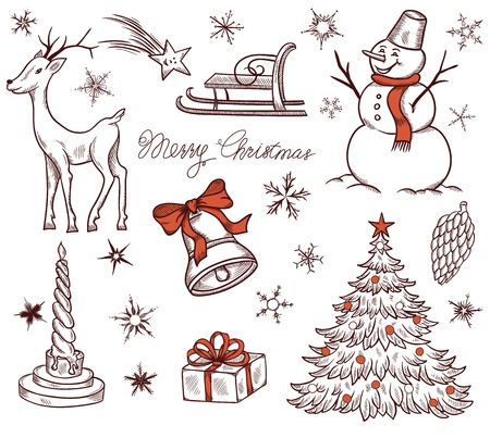 Stock Vector Illustration  Set of Christmas design elements in retro style  Vector