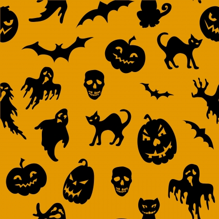Halloween seamless pattern with pumpkin, cat, ghost ,bat  Vector