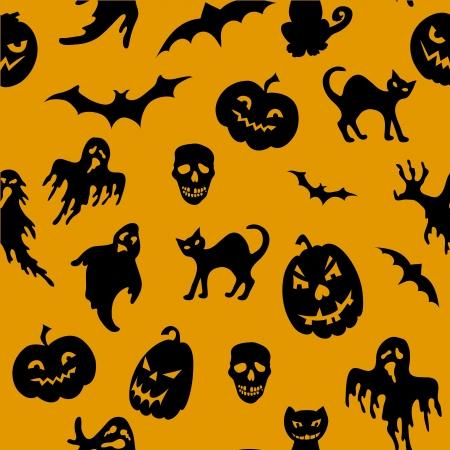 Sin patrón de Halloween con calabaza, gato, fantasma, murciélago