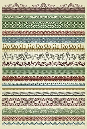 Set of vintage lines on beige background  Vector