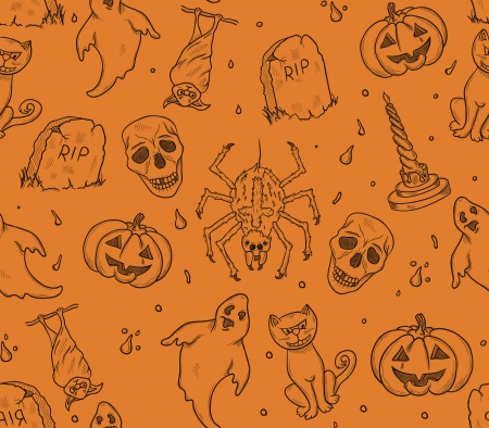 Halloween seamless pattern with ghosts,pumpkins and bats Vector