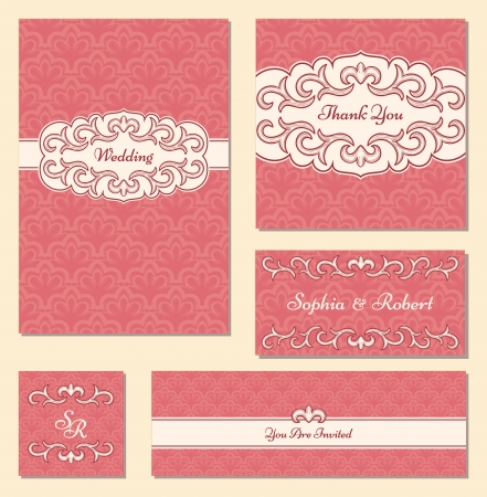 victorian wallpaper: Set of wedding cards in retro style