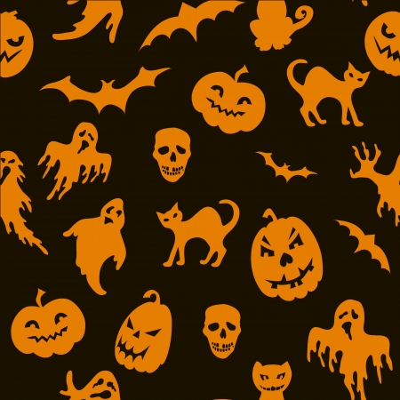 Halloween seamless pattern with pumpkin, cat, ghost ,bat