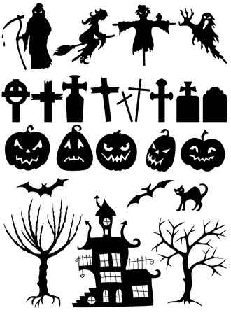 Set of halloween silhouettes on white background  Çizim