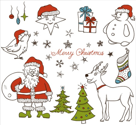 Christmas seamless pattern with deer, snowman, snowflakes, etc  Hand drawn Stock Vector - 15704674