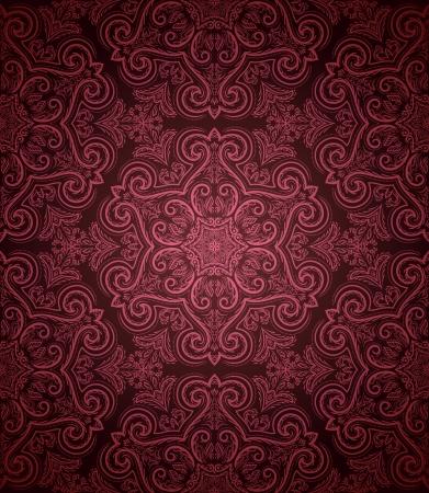 ornate swirls: Vintage seamless pattern on dark background
