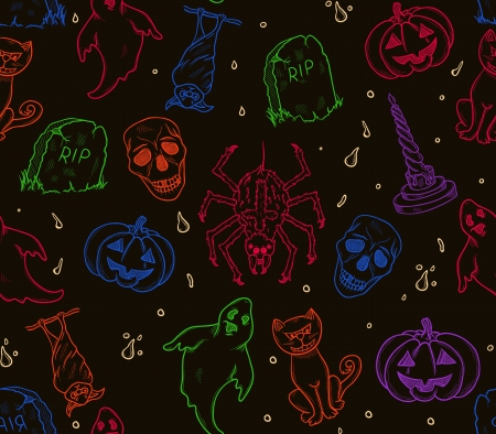 Halloween seamless pattern with ghosts,pumpkins,cat,etc Vector
