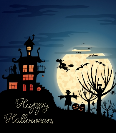 Happy Halloween greeting card with ghosts, graves, bats, pumpkins, etc   Vector