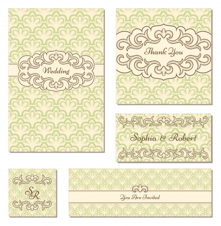Set of vintage wedding cards Vector
