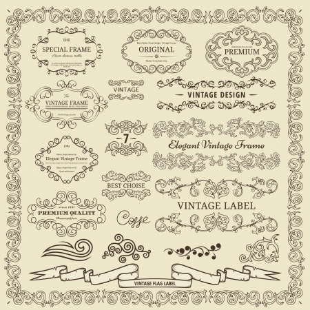 Set of vintage design elements   Stock Vector - 15704788