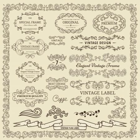 Set of vintage design elements Stock Vector - 15704788