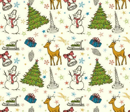 Christmas seamless pattern with deer, snowman, snowflakes, etc  Hand drawn  Stock Vector - 15704800