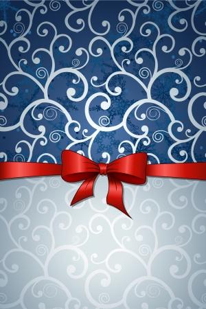Kerst wenskaart met rode strik in retro stijl