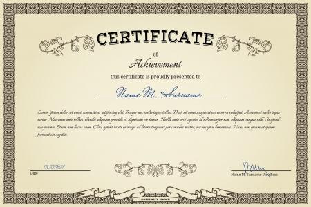 Vintage certificate on gradient beige background