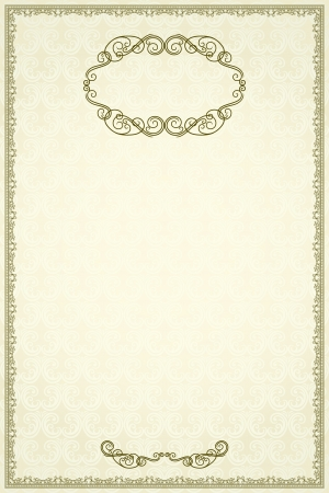 Vintage certificate on damask background