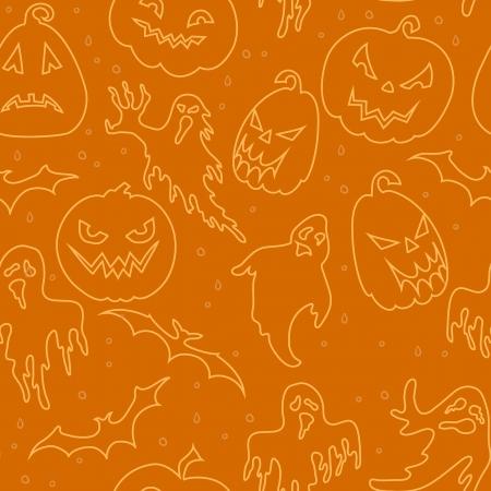 Halloween seamless pattern with pumpkin, ghost ,bat  Vector