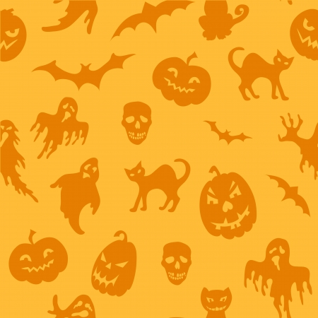 Halloween seamless pattern with pumpkin, ghost ,bat  Vector