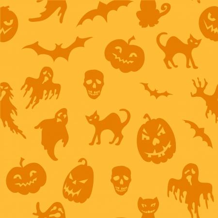 Halloween seamless pattern with pumpkin, ghost ,bat Stock Vector - 15704758